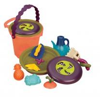 SHORE THING - Wiaderko duże z akcesoriami do piasku i dyskiem frisbee B.Toys