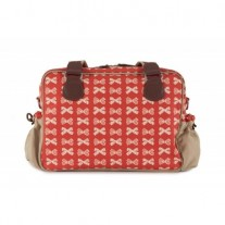Torba Pink Lining - Yummy Mummy Cream Bows on Red