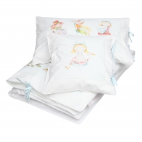 3 elements bedding for cot BLUE Alice in Wonderland Blanket Story