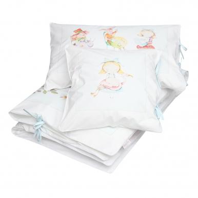 3 elements bedding for cot BLUE Alice in Wonderland Blanket Story