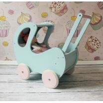 Wózek drewniany dla lalek miętowy
