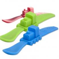 oogaa Blue Train silikonowa łyżeczka do karmienia